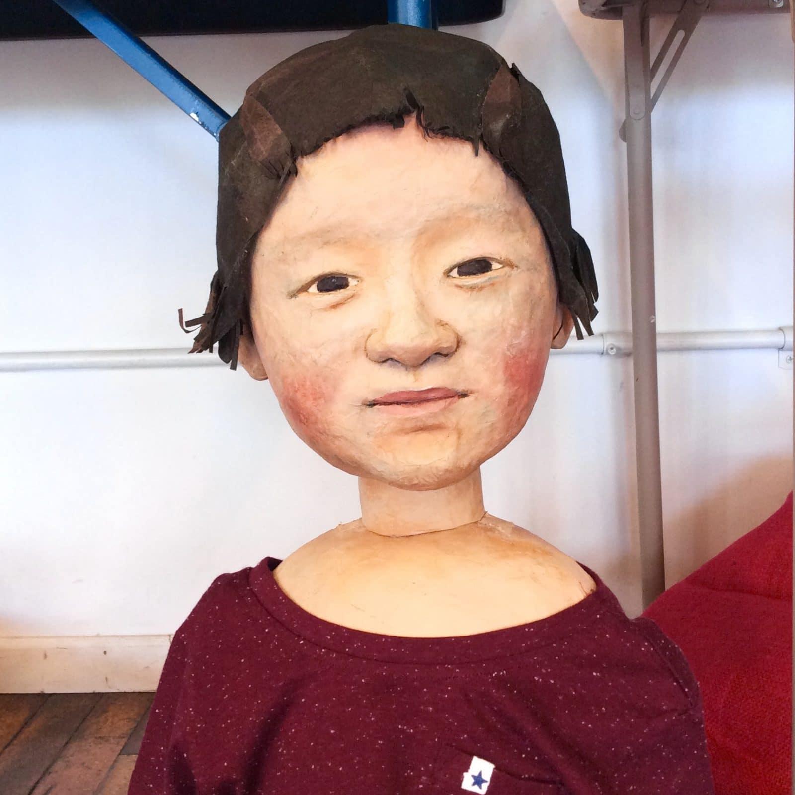 The oldest boy puppet designed and created by Masanari Kawahara